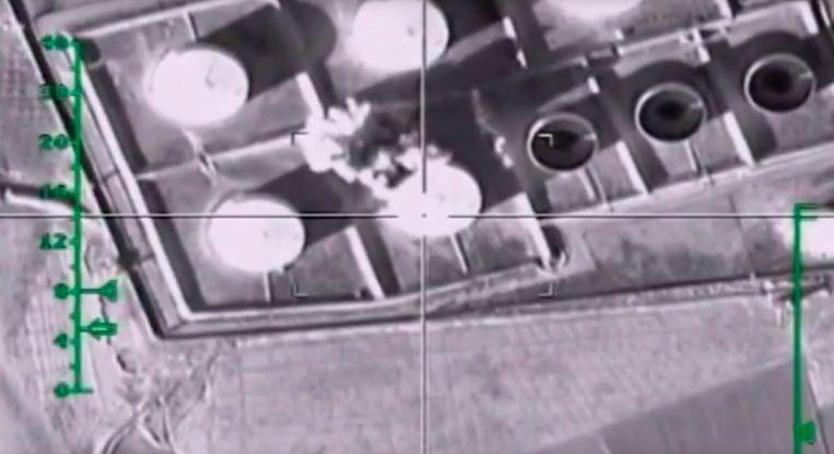 Oliereserves in Syrië werden door Russische gevechtsvliegtuigen gebombardeerd.