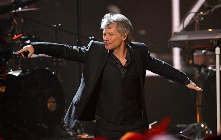 Jon Bon Jovi tijdens zijn optreden in de Rock and Roll Hall of Fame