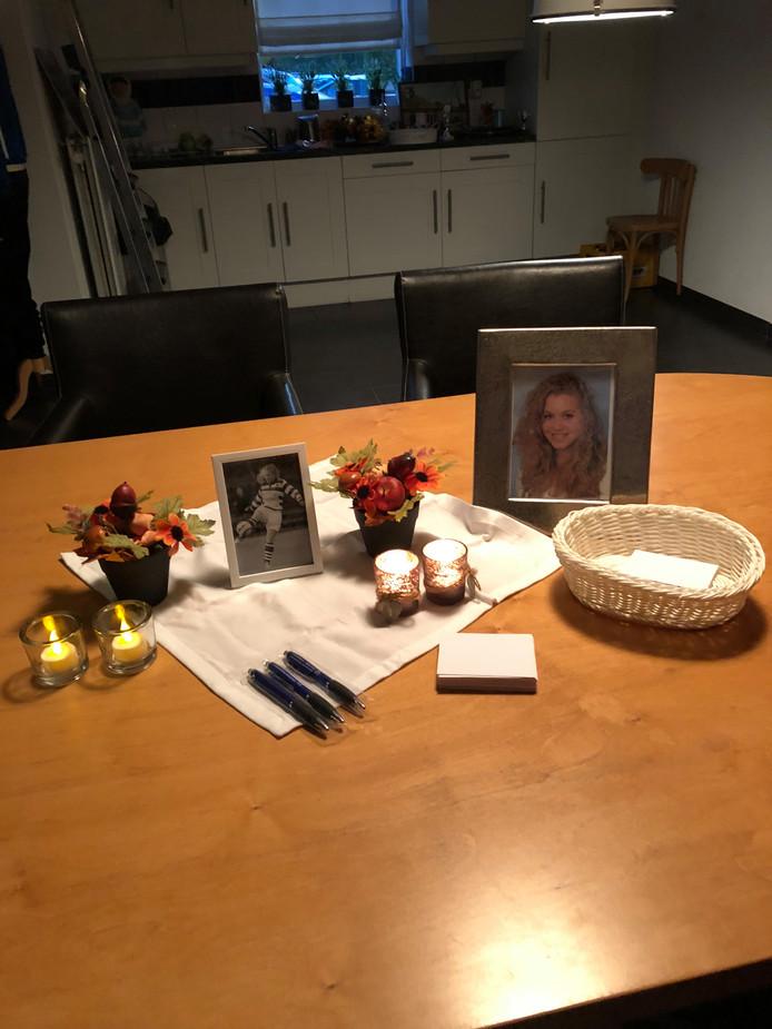 Gedenkplek voor Bente van Velthoven in het clubhuis van voetbalvereniging Essche Boys in Esch.