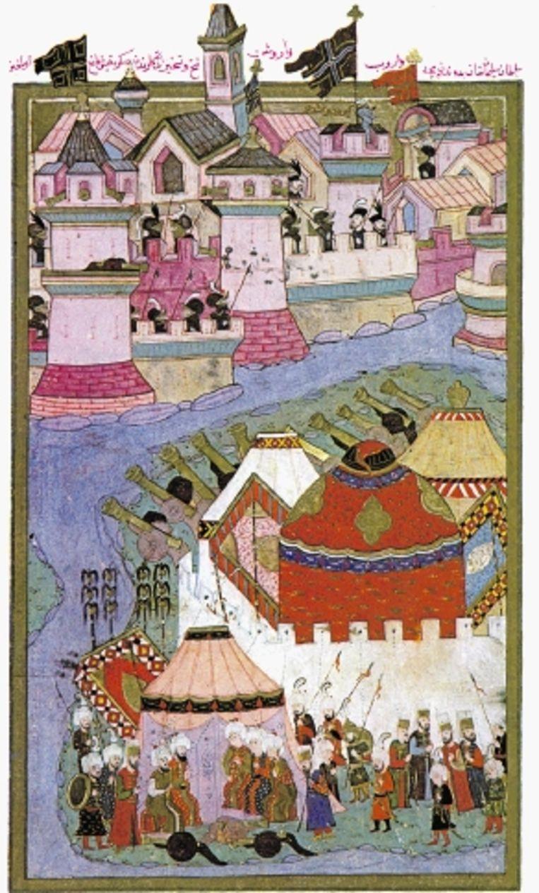 Doek uit de zestiende eeuw van de belegering van Wenen door de legers van SÃ¿leyman in 1529. (PLAAT UIT BESPROKEN BOEK ) Beeld