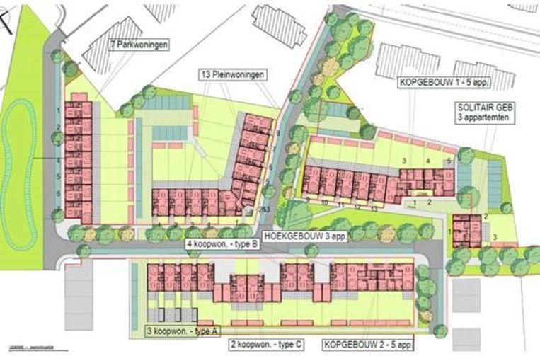 De inplanting van de eerste 45 nieuwe sociale woningen in Tussenveld.