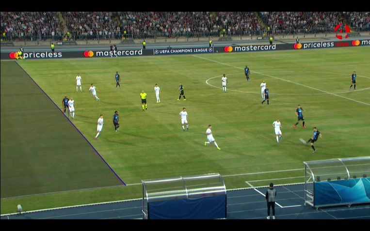 LASK Linz - Club Brugge, buitenspelfase
