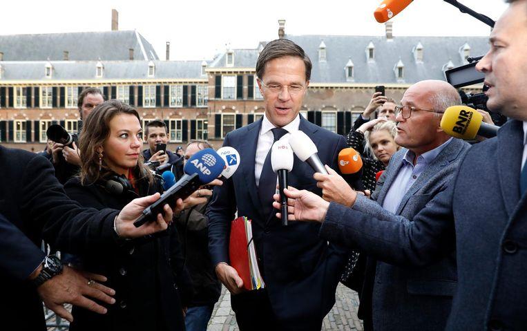 Mark Rutte arriveert vanochtend op het Binnenhof. Beeld anp