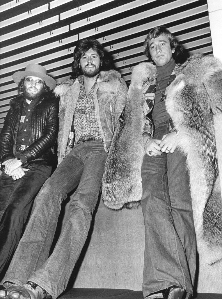 De BeeGees in 1975. Van links naar rechts: Maurice, Barry, Robin. Beeld ANP