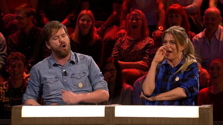 Bart Cannaerts en Karen Damen in 'De Slimste Mens ter Wereld'.