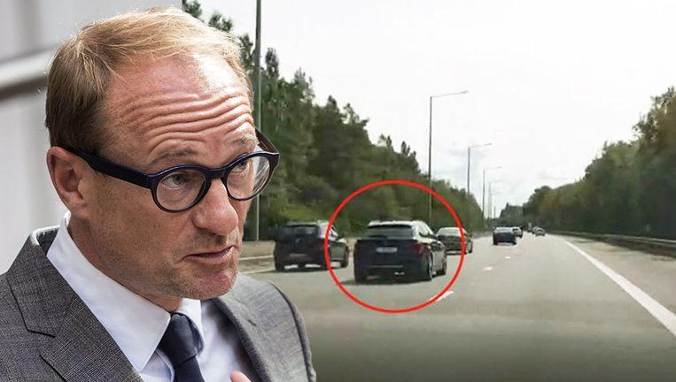 De dienstauto van minister Ben Weyts afgelopen vrijdag op de E19.