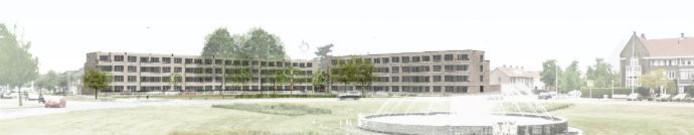 Het nieuwbouwplan voor 2 blokken seniorenwoningen ingetekend op het Floraplein in Eindhoven.