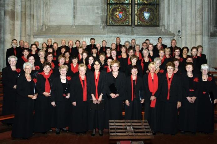 Het Astense koor Pur Sangh tijdens een concert in de Dom van Keulen.