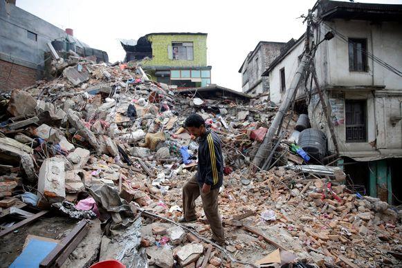 Aardbeving in Nepal in 2015.
