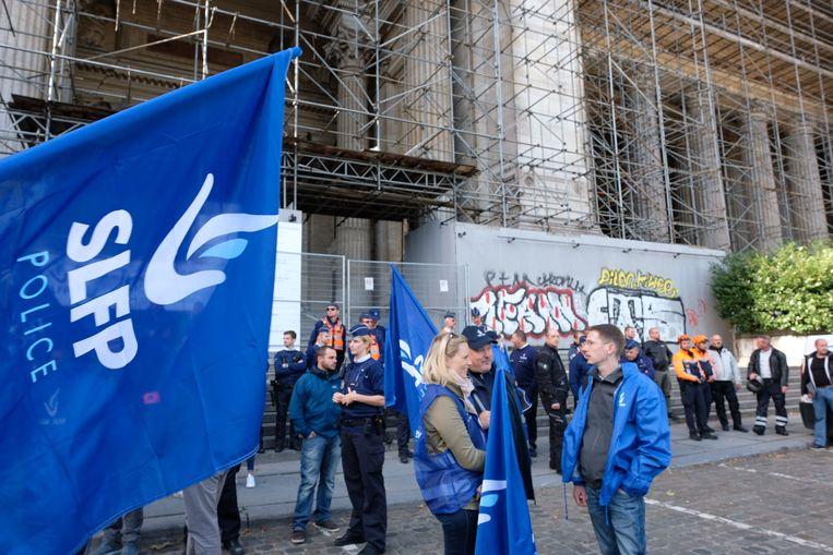De actie aan het justitiepaleis in Brussel.