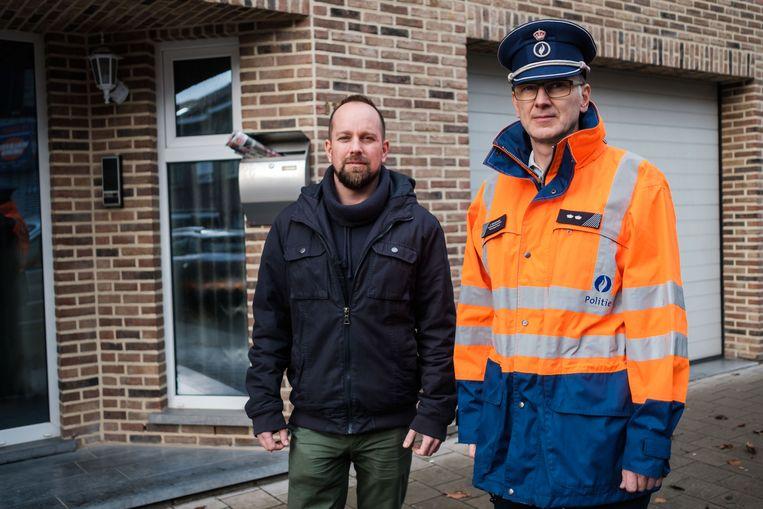 Woordvoerder Joris Van Camp en inbraakpreventieadviseur Ivo Schoeters van de lokale politiezone Rupel.