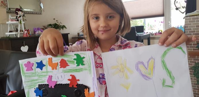 Seline (5) maakte een tekening voor de 'mevrouw van de Karwei die heel erg verdietig is'. En voor de meneer die de mevrouw troost.
