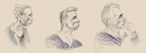 De drie beschuldigden, afgebeeld door Igor Preys.