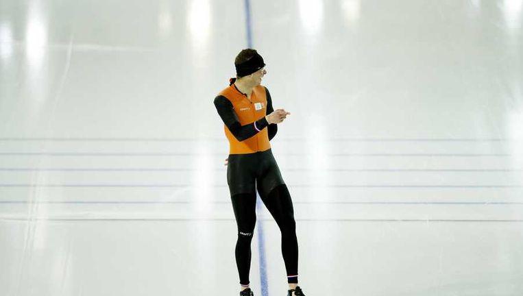 Sven Kramer gisteren tijdens een training. Beeld null