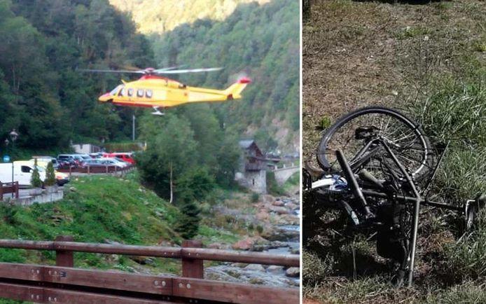 Les secouristes ont découvert les corps d'un couple dans les montagnes depuis un hélicoptère (à gauche). Près de Lecce, dans le sud de l'Italie, un cycliste a été tué (à droite).