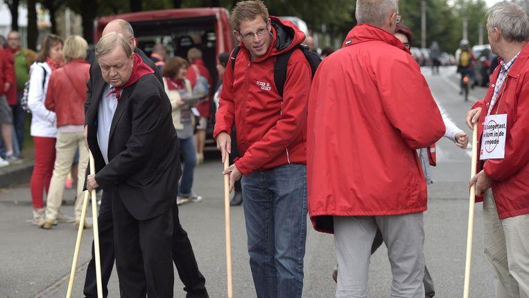 Marc Goblet van ABVV tijdens de actie 'Stop de aanvallen op deeltijdse werknemers'.