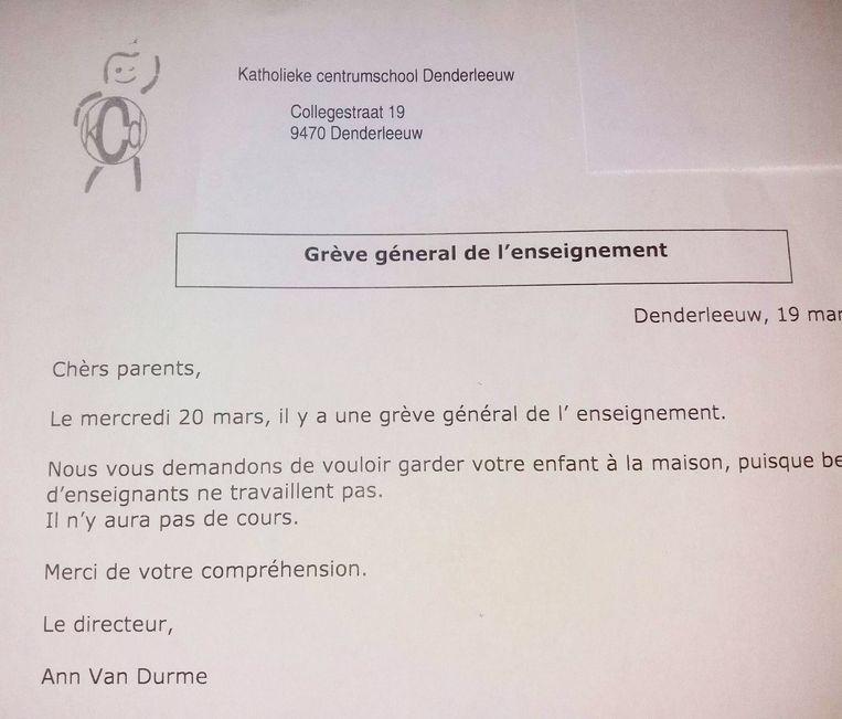De tweetalige brief van het KCD.