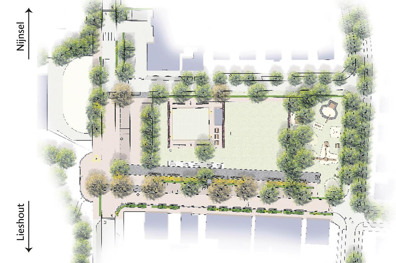 Zo moet het Oranjeplein er na de herinrichting uit gaan zien.