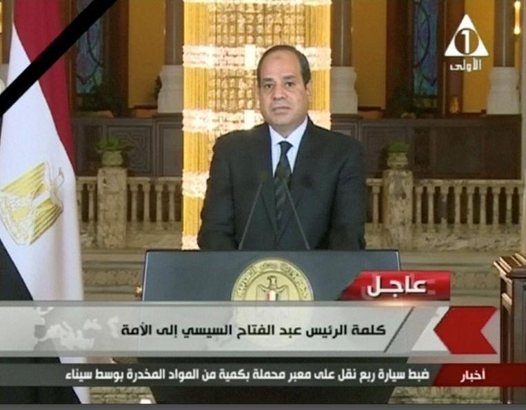 President Al-Sisi geeft een televisietoespraak. Beeld reuters