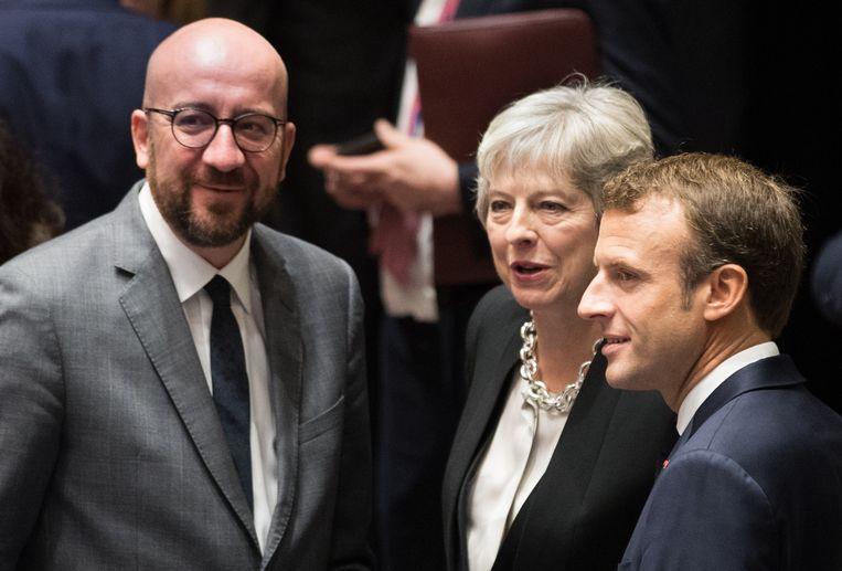 Archiefbeeld Charles Michel, Theresa May en Emanuel Macron.