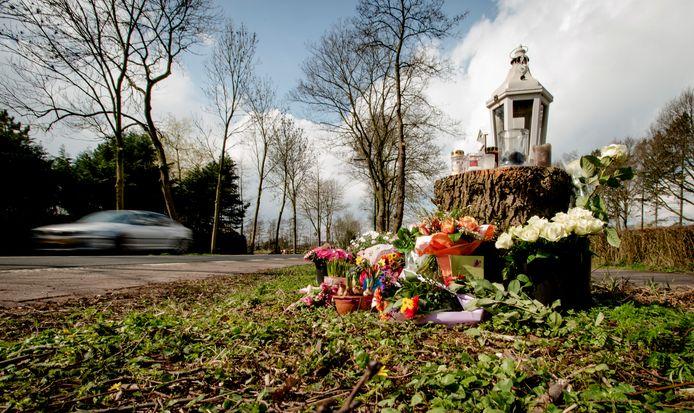 Bloemen en kaarsjes op de plek waar de 19-jarige Fleur Balkestein werd doodgereden.