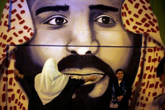 Graffiti-afbeelding van de Saudische kroonprins Mohammad Bin Salman.