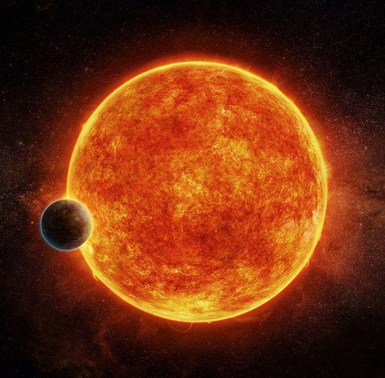 Een illustratie van ster LHS 1140 en haar planeet LHS 1140b.