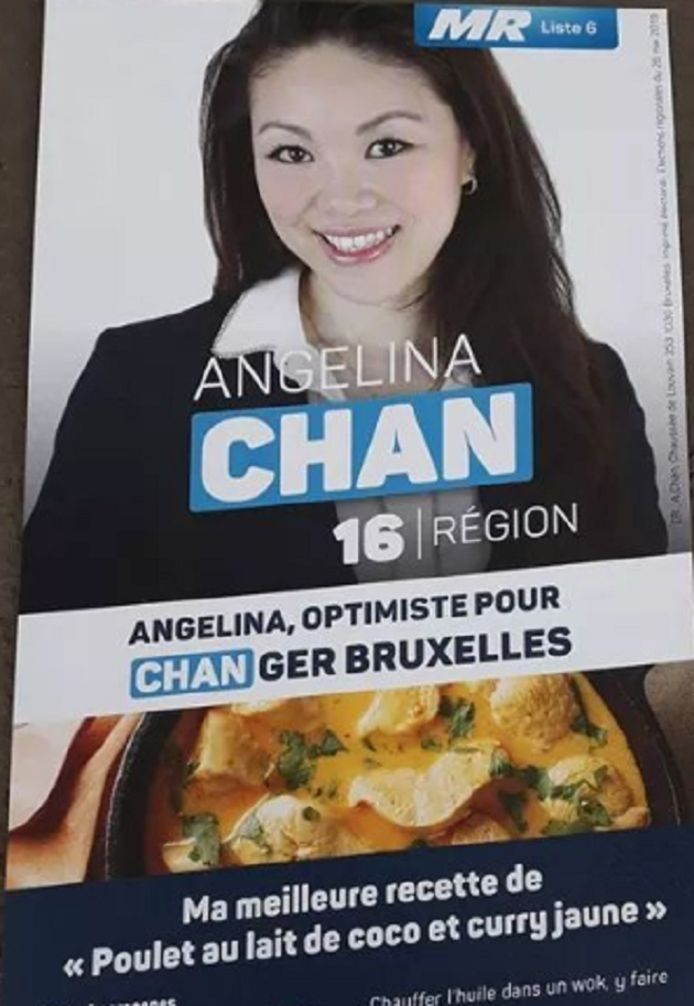 Le tract d'Angelina Chan, au recto.