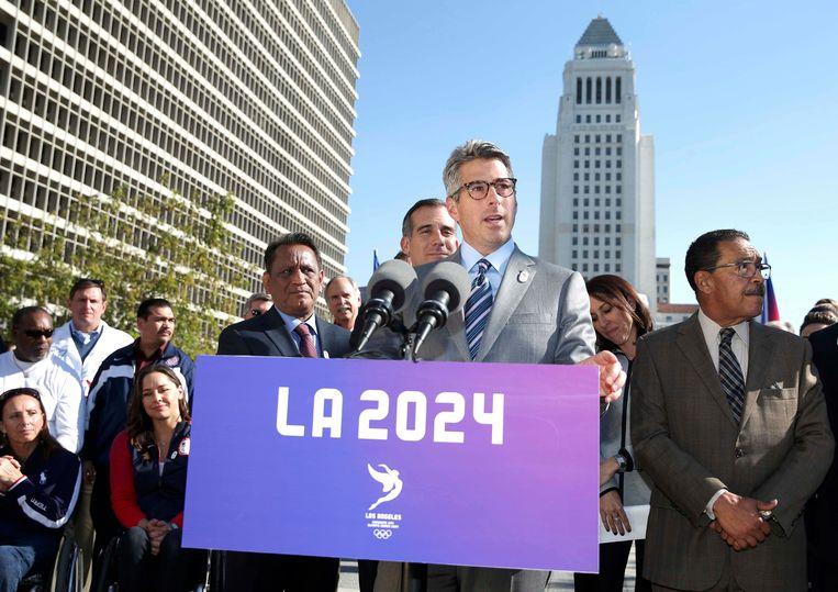 Persbijeenkomst in januari over de Olympische kandidatuur van Los Angeles voor de Spelen in 2024. Beeld photo_news
