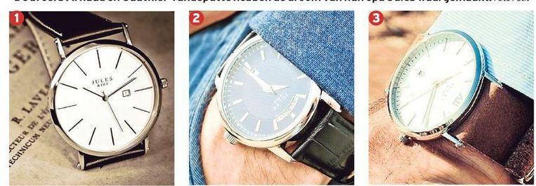 Van het horlogemerk Jules & Fils is al één collectie uit - Heritage '23 - met drie modellen: de Classic (1), de Daydate (2) en de Newporter (3).