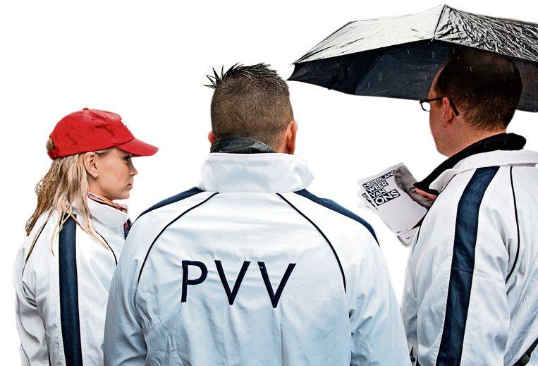 PVV'ers op verkiezingscampagne in Breda, vorig jaar maart. Beeld Nederlandse Freelancers