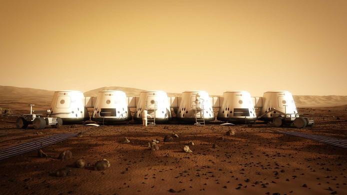 Een impressie van Mars One hoe het dorp op de Rode Planeet er in 2023 zou moeten uitzien.