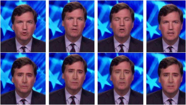 Tucker Carlson, politiek commentator bij Fox News, krijgt ook een Nicolas Cage-behandeling.