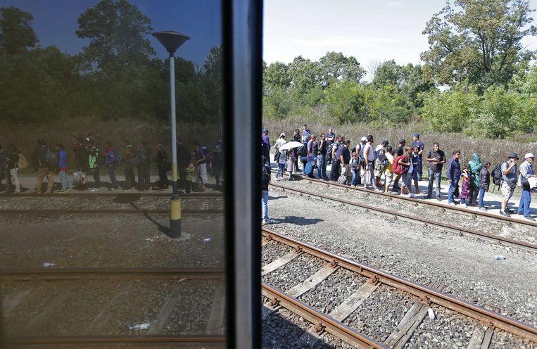 Vluchtelingen op het station van Roszke. Beeld Reuters