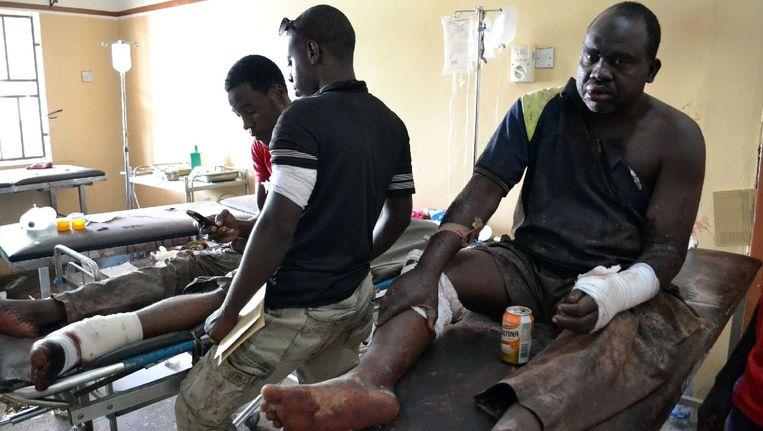 Slachtoffers van de aanslag in de Nigeriaanse stad Maiduguri eerder deze week. Beeld afp
