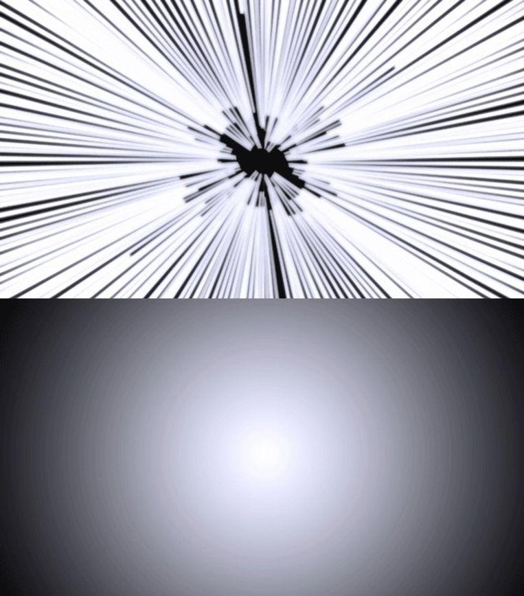 De bovenste afbeelding laat zien hoe de snelheid van het licht vaak wordt uitgebeeld. De onderste laat zien hoe het er volgens studenten van de Universiteit van Leicester daadwerkelijk uit zou zien. Beeld University of Leicester