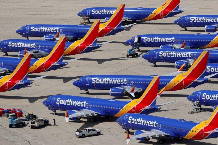 Boeing 737 Max-vliegtuigen van maatschappij Southwest aan de grond. Beeld REUTERS