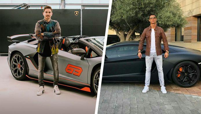 Lorenzo (links) en Cristiano, allebei voor een Lamborghini.