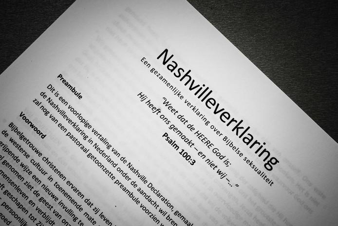 De Nederlandse vertaling van de Nashvilleverklaring waarin homoseksualiteit en transgenderisme expliciet wordt afgewezen.