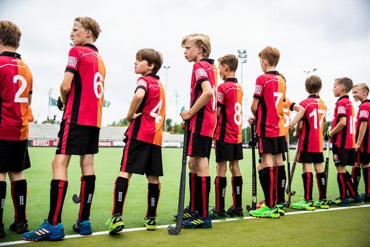 De D-jeugd van Oranje-Rood in Eindhoven. Beeld null