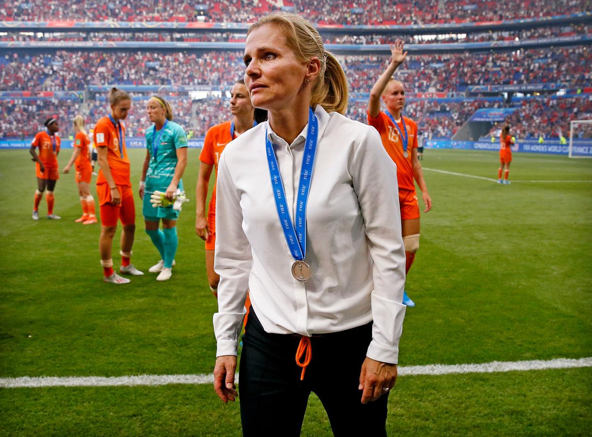 Sarina Wiegman na de verloren WK-finale in Lyon op 7 juli.