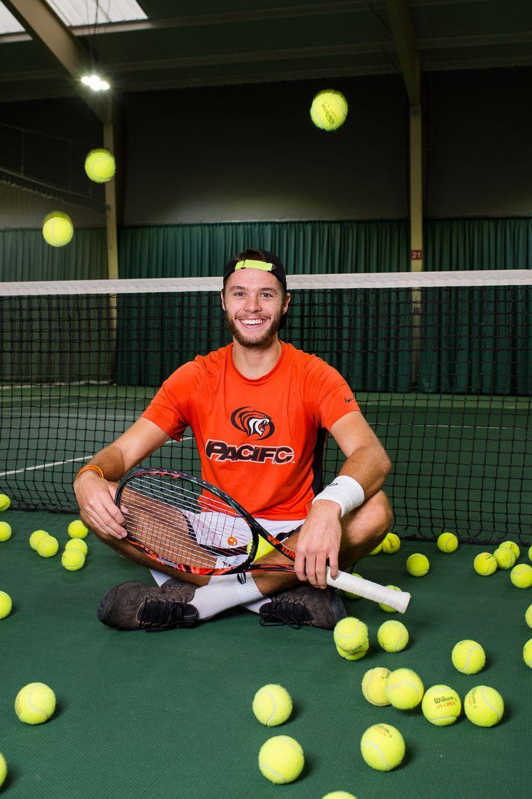 Sem Verbeek. Deze 25-jarige tennisser  uit Amsterdam won in 2019 twee challengertitels. Dit jaar won hij er een.  Beeld Mats Van Soolingen