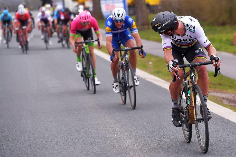 Een beeld uit de Ronde van Vlaanderen: Peter Sagan wil de achtervolging inzetten op Terpstra. De wereldkampioen kijkt over zijn schouder en ziet Philippe Gilbert meteen op zijn wiel springen.