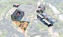 Het nieuwe centrumplan van Sint-Michielgestel: 1. Brenthof, 2. Dommelstaete 3. Raadskamer 4. Groene Vila en 5. Kleinere Petrus Dondersplein.