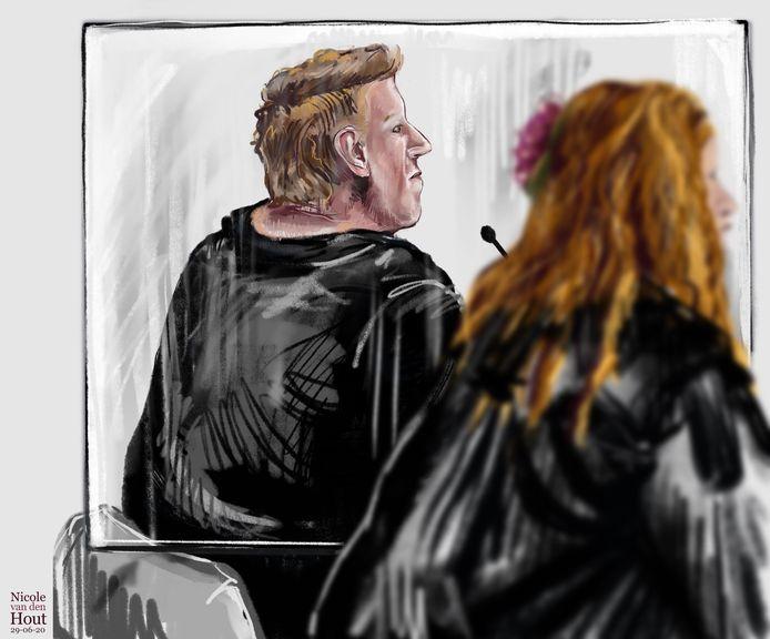 Roy B. in de rechtbank van Den Haag, verdachte in de zaak Orlando.