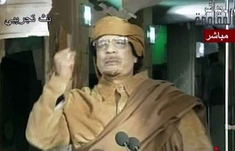 Kaddafi in 2011 Beeld AFP PHOTO/HO/ARRAITELEVISION
