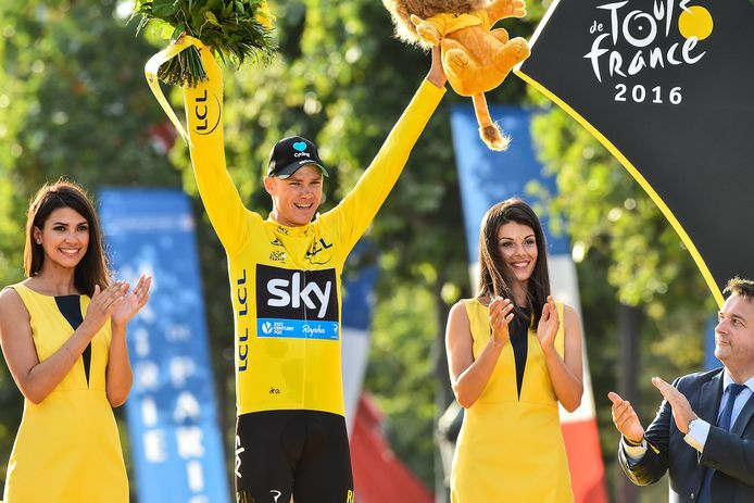Chris Froome in de gele trui in 2016. Hij won de Tour in 2013, 2015, 2016 en 2017.