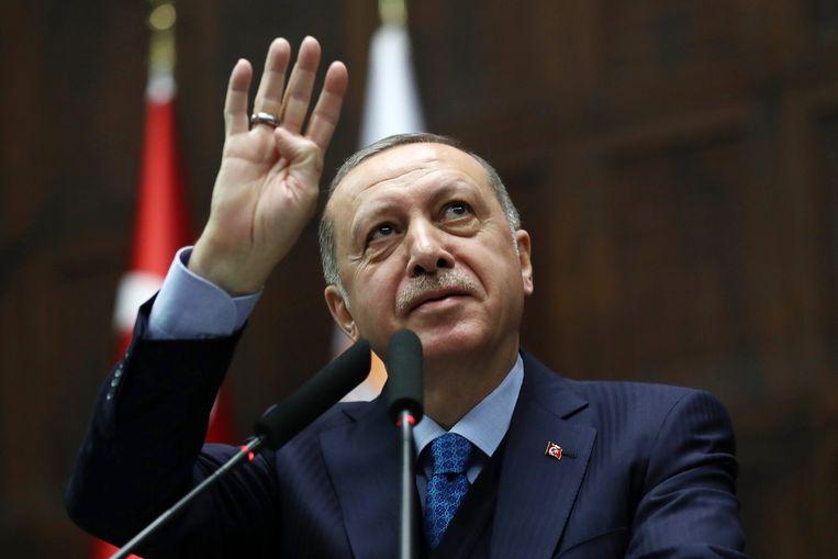 De Turkse president Erdogan tijdens een toespraak deze maand.