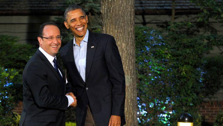 De Franse president François Hollande en de Amerikaanse president Barack Obama in mei 2012. Beeld REUTERS
