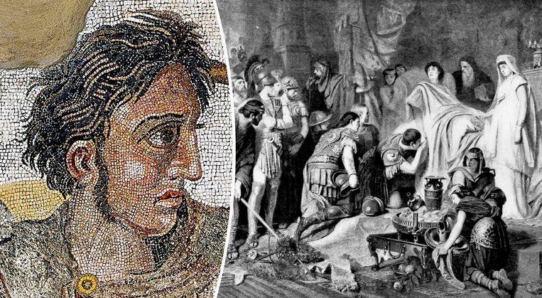 Een afbeelding van Alexander de Grote en zijn dood in Babylon.